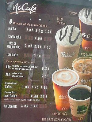 Mcdonalds Cafe Mocha Price